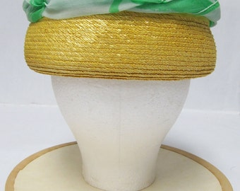 1960's Otto Lucas Yellow Straw Hat with Green Silk Scarf Detail