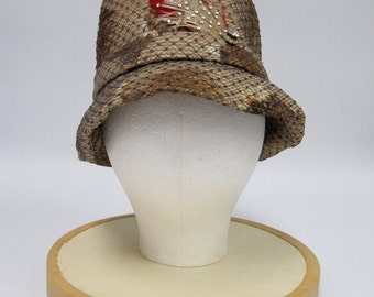 1960's Chanda Tan Felt Hat with Tan-Brown Feathers with Black Netting