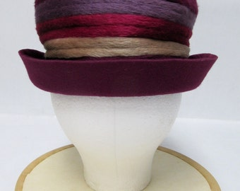 1960's Sally Viclor Purple-Lavender-Pink-Taupe Banded Hat