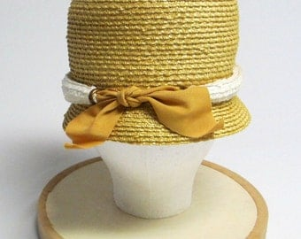 Natural Straw White Belted Bow Hat ORIGINAL PURCHASE TAGS