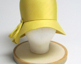 Marshall Field's Sunshine Yellow Fabric Hat with Button Detail
