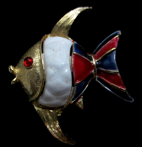 RSERVED for (Veronika)1960's Lisner Enameled Red White Blue Fish Brooch