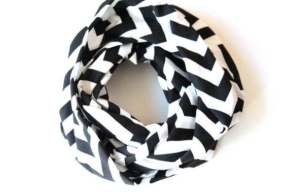 Chevron Scarf - Black and White Infinity