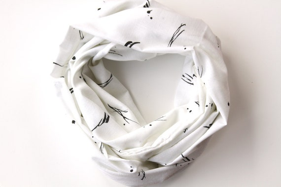 Infinity Scarf - Black and White Vintage Fabric