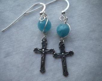 Sterling Silver Crucifix Earrings Catholic Jewelry