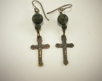 Catholic Crucifix earrings with Russian Jade