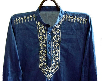 Romantic viking tunic Blue shirt men's kurta gift for him long sleeved tunic top in salwar kameez kurta pattern embroidery designs gift