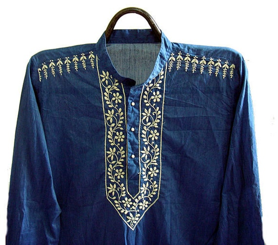 Blue dress Long Mens kurta bohemian clothing Round Collar Shirt Chikan Hand Embroidered Beach Wedding Dress Gift ideas