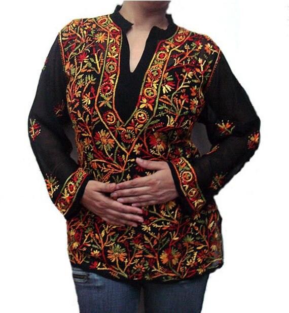 M/L/XL/XXL Peasant Black Ladies Tunic Blouse Top Hand Embroidered Kurti US 16 Kurta Black on Black