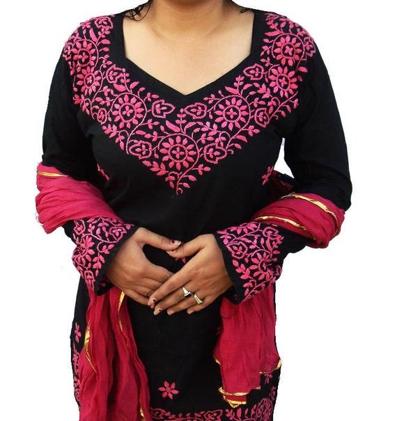 Valentines dress Black Tunic Indian Sari Kurta Top Pure Cotton Kameez FREE Stole Dupatta Chikankari Embroidery beach wedding