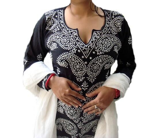 valentines day women Black cotton Kurti Sari Tunic Kaftan Kameez Top Embroidered Beautiful Artwork