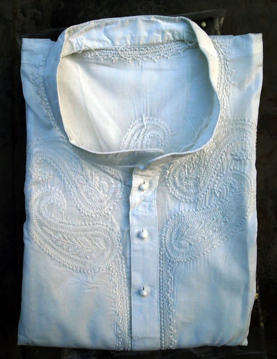 """Fathers Day Mens Long Kurta Sari Tunic White Shirt Dress Hand Embroidered Salwar Kameez Dress Chest 46"""" Ethnic Bollywood Outfit"""