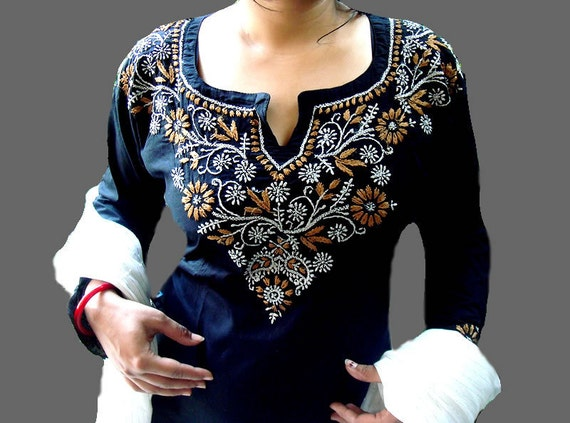 Black Ladies Tunic Kurta Blouse Shirt Sari Salwar Kameez US 14