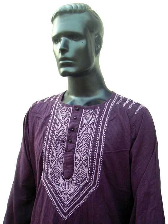 Mens Cotton Lilac Kurta mothers day Gift ideas Tunic Shirt Dress Hand Embroidered Beach Coverup cool summertime vacation gift Boho