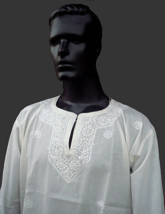 Ivory dress mens kurta shirt pure cotton short sari kameez for Mens ivory dress shirt wedding