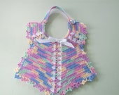 Hand Crochet Rainbow colored Ribbons and Lace Bib