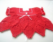 Christmas or Valentines Crocheted Pineapple Dress 3 to 6 months in Red