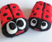 Felted Soap Lady Bugs Set of Two Family Gift