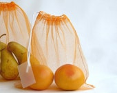 MARKET / PRODUCE BAG in orange tulle, with label - set of 2