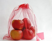 MARKET / PRODUCE BAG in red tulle, with label for bar code - set of 2