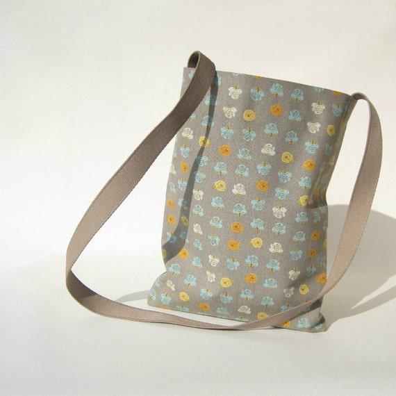 informal CROSS-BODY BAG - linen and cotton - grey, orange, cyan, mustard