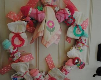 CUSTOM ORDER - Large full Baby Shower Wreath - It's a Girl - Diaper Baby Girl Wreath -