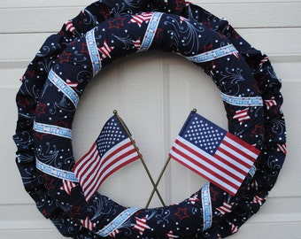 Let Freedom Ring Fabric Wreath - Patriotic Wreath - 4th of July Wreath - Independence Day Wreath - America - Ready to ship - Flag - OOAK