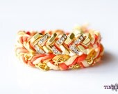 TINNLILY Silk Sparkling Grapefruit Chain and Hex Nut Double Wrap Bracelet with Swarovski Crystals