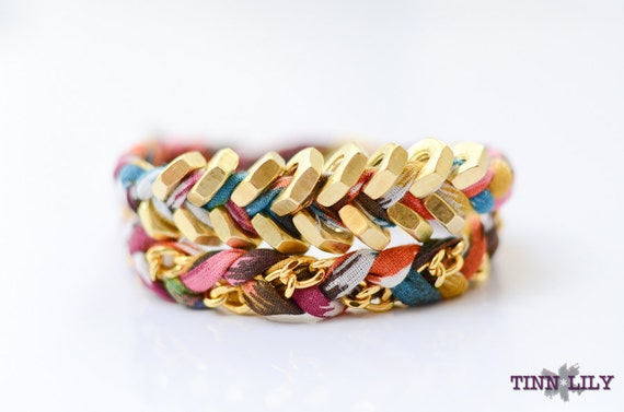 TINNLILY Multi-Colored Chain and Hex Nut Double Wrap Bracelet