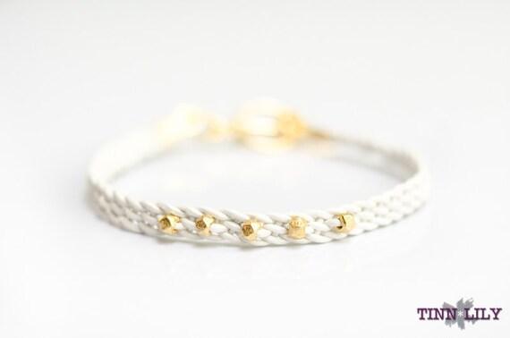 TINNLILY Gilded White Leather Bracelet