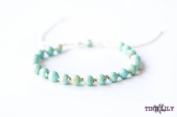 TINNLILY Gilded Turquoise Beaded Bracelet