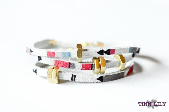 TINNLILY Hand Painted Suede and Brass Hex Nut Triple Wrap Bracelet
