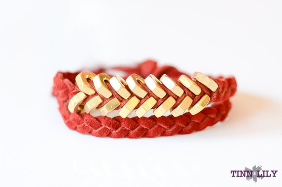 TINNLILY Rouge Hex Nut Bracelet (Double Wrap)