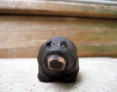 Bear Sculpture, Black Bear, Rustic Polymer Clay Sculpture