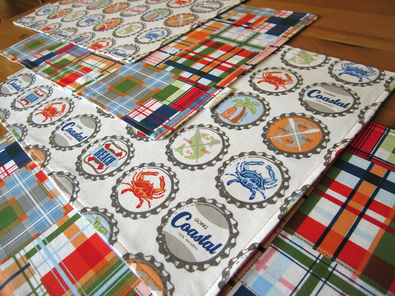Nautical Placemats 4 With Beach Theme Bottle Tops And