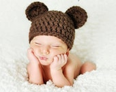 Newborn Baby Boy Hat Girl Bear Hat Photography Prop Crochet Knit Boy Girl Baby Photo Prop Chunky Chocolate Bear Hat