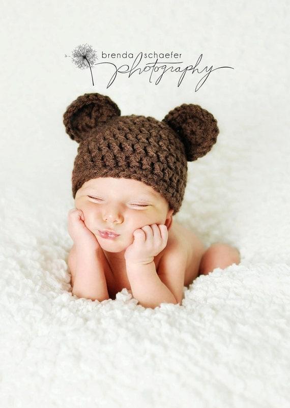 Newborn Baby Boy Hat Girl Bear Hat Photography Prop Crochet Knit Boy Girl Baby Photo Prop Chunky Chocolate Bear Hat