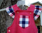 vintage 1970s red baby jumper with red/white/blue ruffled shoulders and pockets