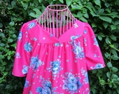 vintage fuchsia pink and flowered house dress