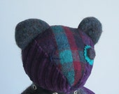 "Teddy Bear soft sculpt ""Buster"" Purple,Turquoise, & Cream 9 inch"