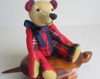 Teddy Bear Red, Navy, & Green Tartan Wool plaid 7 inch Tom Thumbear