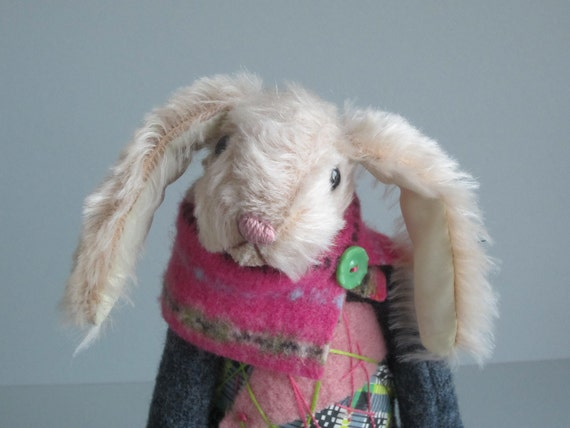 "Mohair & Wool Rabbit ""Hopscotch"" Pink w Grey 15 inch"