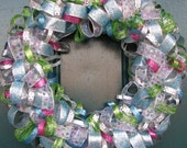 Sparkly Christmas ribbon wreath. - 30% off sale on ready made wreaths!
