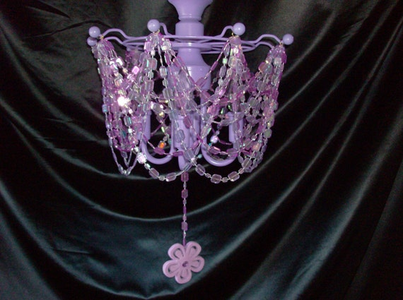 Lavender Chandelier - Lavender Iridescent Acrylic  Beads and Flower Chandelier