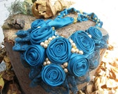 I will donate to the earthquake in Turkey. oil blue bib necklace and ring, Cleopatra style, unique design,