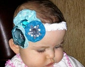 blue water head band, baby head bands, head bands newborn, infant, toddler, adult HEADBAND , custom