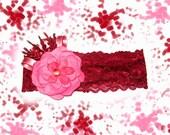 Burgundy, pink baby headband, lace headband, flower headband, newborn headband, personalized design...