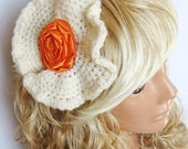 ivory, cream, orange, hand knit, satin rose rosette, adult crown, girl tiara, personalized design.