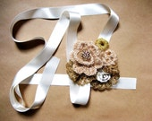 Champagne, ivory and gold color headband, vintage style romantic headband, wedding headband, bridesmaid headband, women headband, bandana