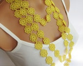 Summer Fashion lace necklace, infinity yellow necklace, guipure scarf, floral necklace, romantic, elegant, wedding necklace